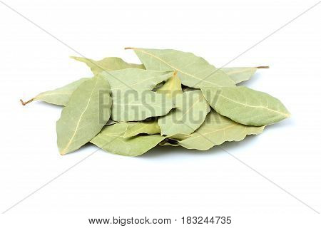 A bunch of spices a Laurel leaf isolated on white background.