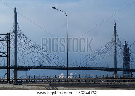 New suspension bridge Western high-Speed Diameter in Saint-Petersburg.