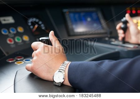 Train driver. Railroad engineer at the workplace.
