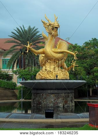 Sea Dragon, Phuket security guard. Phuket, Thailand - May 29, 2016 Dragon statue considered a defender of the city of Phuket in Thailand.
