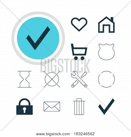 Vector Illustration Of 12 Interface Icons. Editable Pack Of Envelope, Padlock, Confirm And Other Elements.