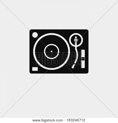 Dj vinyl player icon isolated on white background .