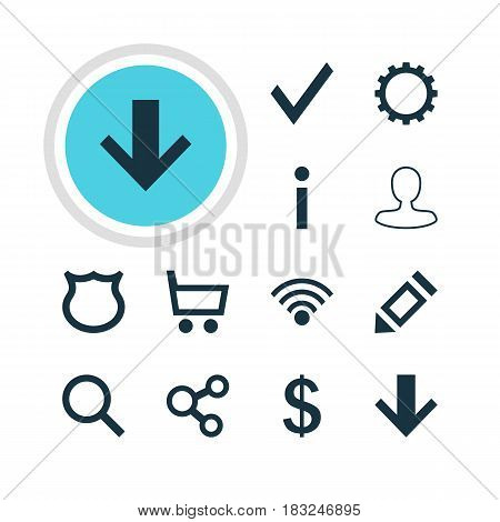 Vector Illustration Of 12 Member Icons. Editable Pack Of Cordless Connection, Man Member, Seek And Other Elements.