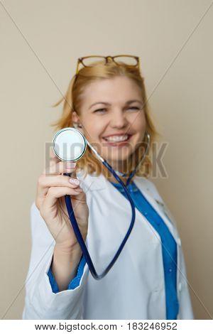 Beautiful blonde in medical dressing