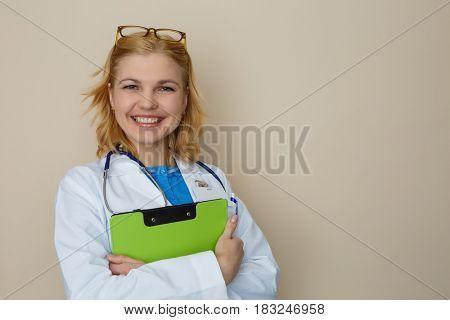 Photo of woman with phonendoscope