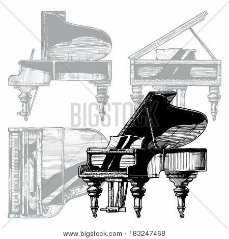 Vector hand drawn illustration of Grand Piano. Orthographic projection on the background. Top front right side views.