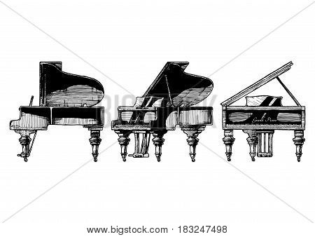 Vector hand drawn illustration of Grand Piano in orthographic projections. front right side and ¾ views.