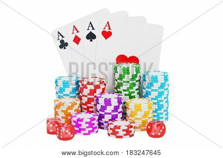 Casino gambling and entertainment concept. 3D rendering isolated on white background