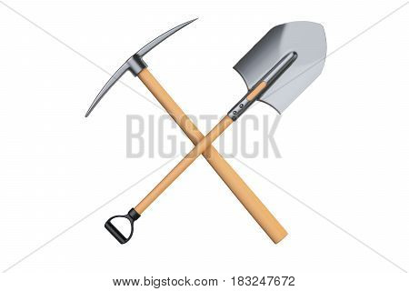 crossed pickaxe and spade 3D rendering isolated on white background