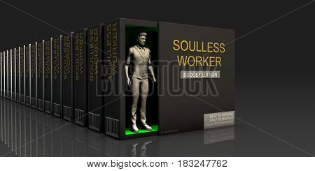 Soulless Worker Endless Supply of Labor in Job Market Concept 3D Illustration Render
