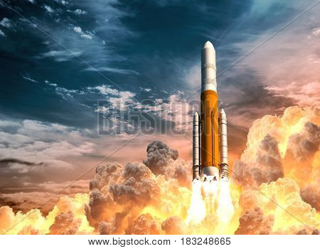 Heavy Rocket Launch On The Background Of Cloudy Sky. 3D Illustration.