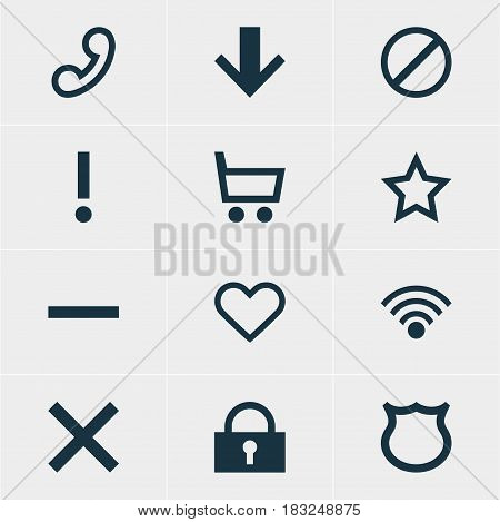 Vector Illustration Of 12 Interface Icons. Editable Pack Of Wrong, Alert, Padlock And Other Elements.