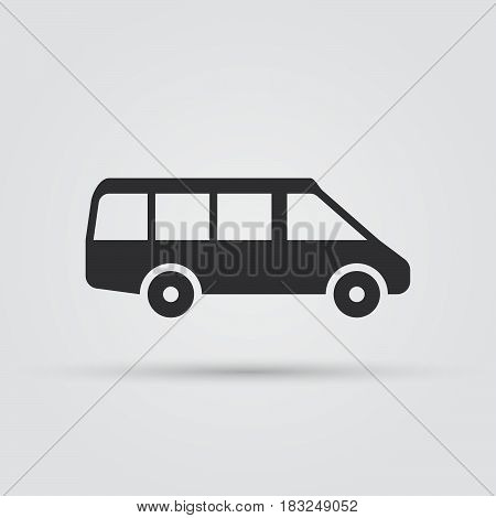 Minibus icon vector illustration isolated on white background .