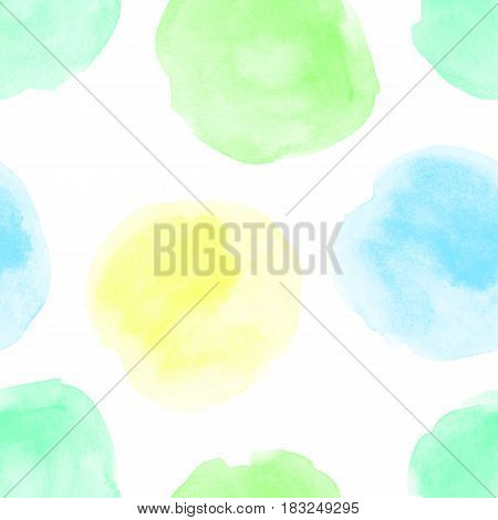 Seamless vector pattern with hand drawn watercolor circles. Vector seamless background.Naive background with spots.