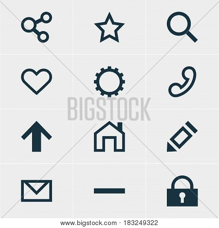 Vector Illustration Of 12 User Icons. Editable Pack Of Seek, Publish, Minus And Other Elements.