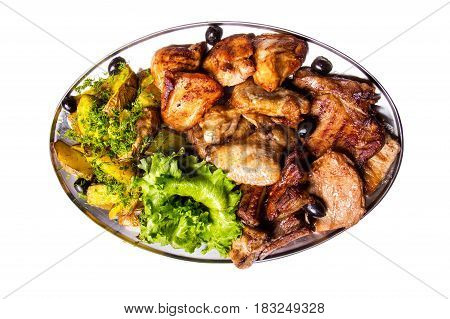 Grilled Chicken Wings And Legs With Lettuce And Black Olives