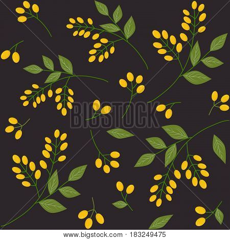 Seamless botanical pattern with yellow seaberries green leaves allover print on dark background