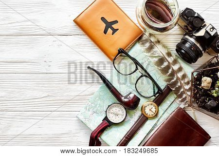 Time To Travel Concept, Hipster Flat Lay. Map Passport Money Compass And Glasses Photo Camera Pipe O