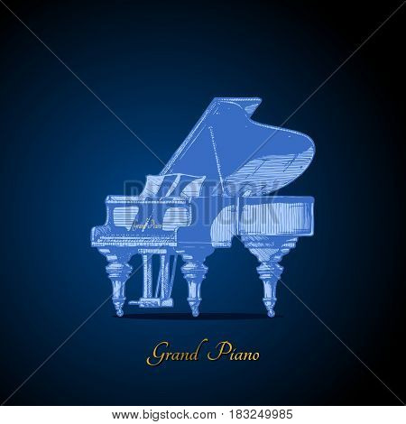 Vector hand drawn illustration of Grand Piano on dark blue background.