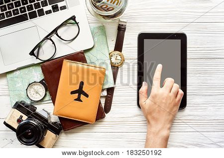 Planning Summer Vacation Flat Lay, Space For Text. Hand Pointing On Tablet With Empty Screen, Money