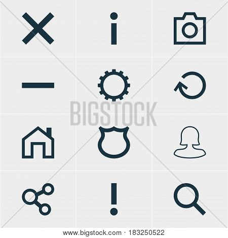 Vector Illustration Of 12 Interface Icons. Editable Pack Of Female User, Info, Renovate And Other Elements.