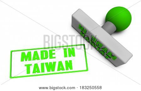 Made in Taiwan Stamp or Chop on Paper Concept in 3d 3D Illustration Render