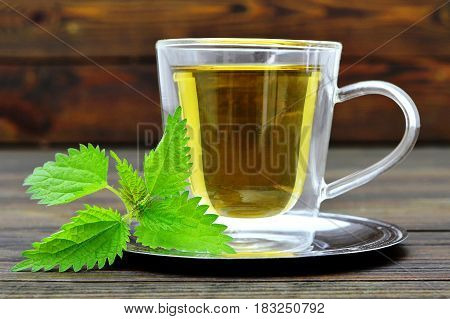 Stinging nettle tea in the transparent glass cup