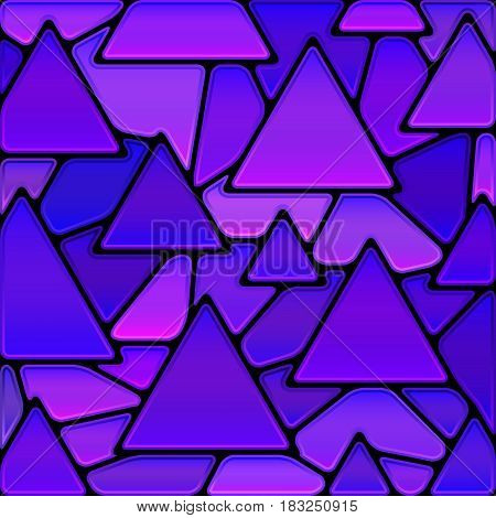 abstract vector stained-glass mosaic background - blue and violet triangles