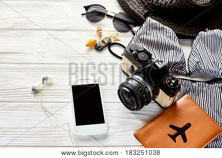 Hello Summer Holiday Concept. Stylish Swimsuit, Hat Sunglasses And Shells Passport Phone Photo Camer