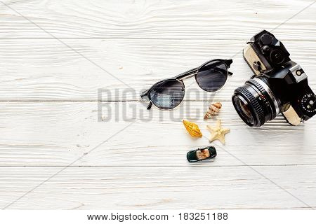 Travel And Wanderlust Concept, Summer Vacation Background Flat Lay, Space For Text. Photo Camera Sun