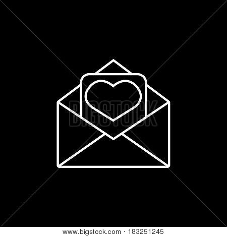 Love letter line icon, mothers day card, envelope with hearth vector graphics, a linear pattern on a black background, eps 10.