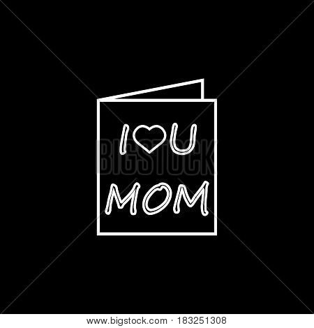 Greeting card line icon, mothers day, holiday vector graphics, a linear pattern on a black background, eps 10.