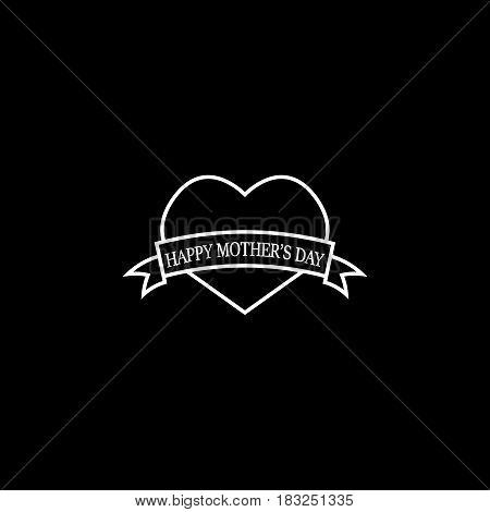 Happy Mothers day line icon, heart with ribbon sign, holiday vector graphics, a linear pattern on a black background, eps 10.