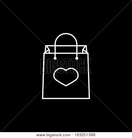 Shopping bag with heart line icon, mothers day, holiday vector graphics, a linear pattern on a black background, eps 10.