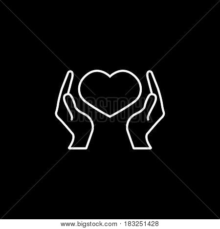 Hearth in hands line icon, mothers day, mom care vector graphics, a linear pattern on a black background, eps 10.