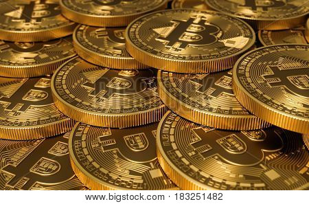 Golden Virtual Currency Coins Bitcoins. 3D Illustration.