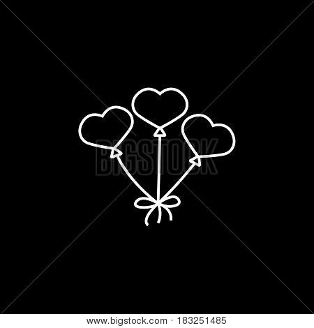 Balloons in the shape of heart line icon, mothers day, love vector graphics, a linear pattern on a black background, eps 10.