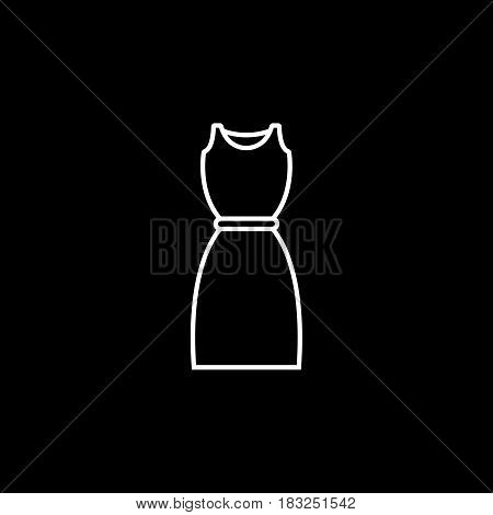 Dress line icon, fashion, cloth vector graphics, a linear pattern on a black background, eps 10.