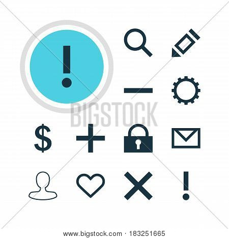 Vector Illustration Of 12 User Icons. Editable Pack Of Cogwheel, Alert, Seek And Other Elements.