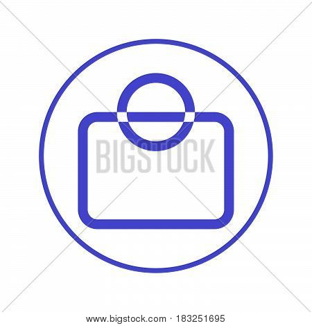 shopping bag circular line icon. Round sign. Flat style vector symbol