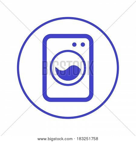 washing machine laundry circular line icon. Round sign. Flat style vector symbol