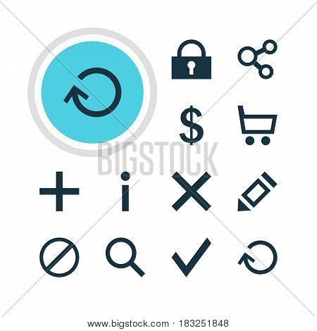 Vector Illustration Of 12 Interface Icons. Editable Pack Of Check, Info, Seek And Other Elements.