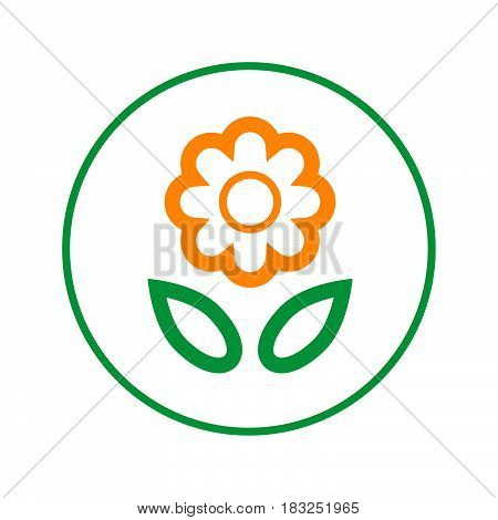 flower circular line icon. Round sign. Flat style vector symbol