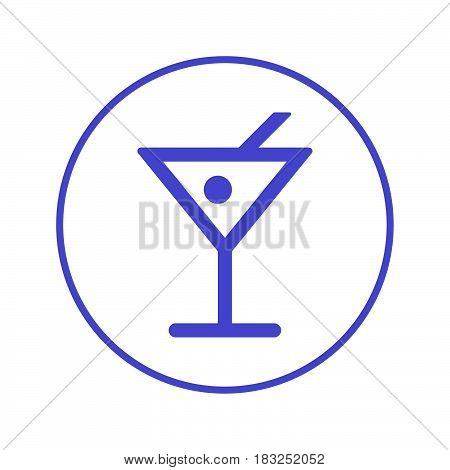 Alcohol drink cocktail circular line icon. Round sign. Flat style vector symbol