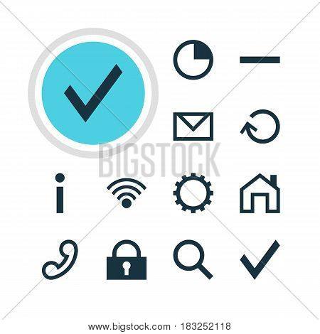 Vector Illustration Of 12 Interface Icons. Editable Pack Of Minus, Cordless Connection, Seek And Other Elements.