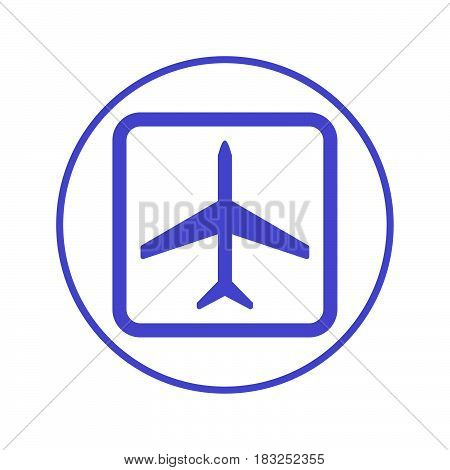 Plane airplane circular line icon. Round sign. Flat style vector symbol