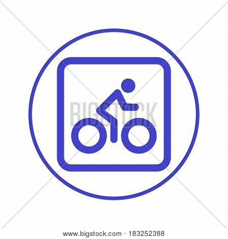 Bicycle. Bike Cycling circular line icon. Round sign. Flat style vector symbol