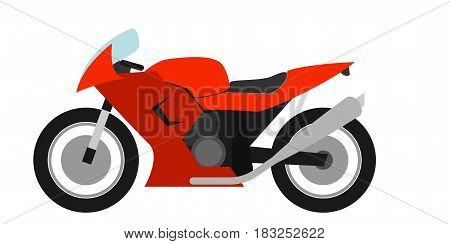 Flat style racing motorcycle on a white background