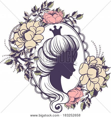 Princess portrait in floral frame on a white background