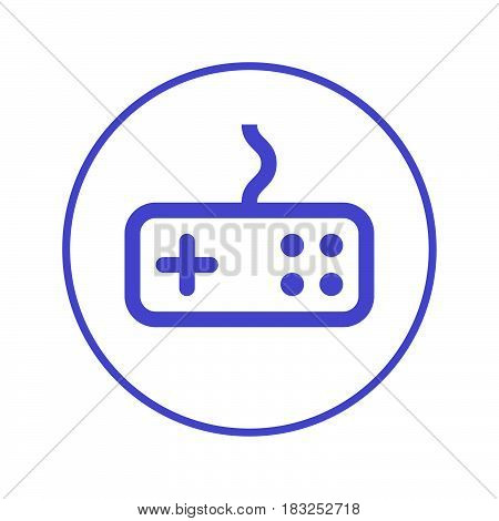 Game gamepad circular line icon. Round sign. Flat style vector symbol
